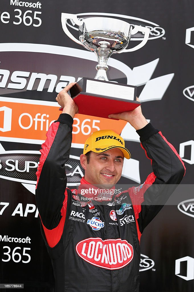 <a gi-track='captionPersonalityLinkClicked' href=/galleries/search?phrase=Fabian+Coulthard&family=editorial&specificpeople=678657 ng-click='$event.stopPropagation()'>Fabian Coulthard</a> driver of the #14 Lockwood Racing Holden celebrates after winning race three for round two of the V8 Supercar Championship Series at Symmons Plains Raceway on April 6, 2013 in Launceston, Australia.