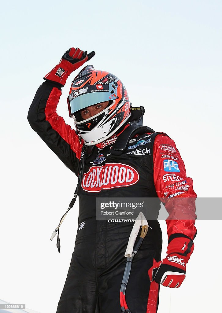 <a gi-track='captionPersonalityLinkClicked' href=/galleries/search?phrase=Fabian+Coulthard&family=editorial&specificpeople=678657 ng-click='$event.stopPropagation()'>Fabian Coulthard</a> driver of the #14 Lockwood Racing Holden celebrates after winning race five of round two of the V8 Supercar Championship Series at Symmons Plains Raceway on April 7, 2013 in Launceston, Australia.