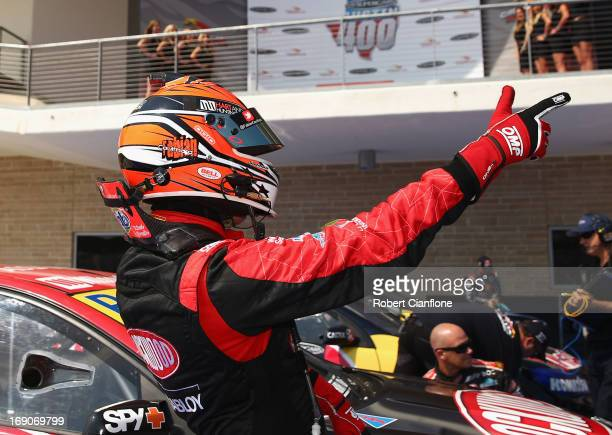 Fabian Coulthard driver of the Lockwood Racing Holden celebrates after winning race 15 of the Austin 400 which is round five of the V8 Supercar...