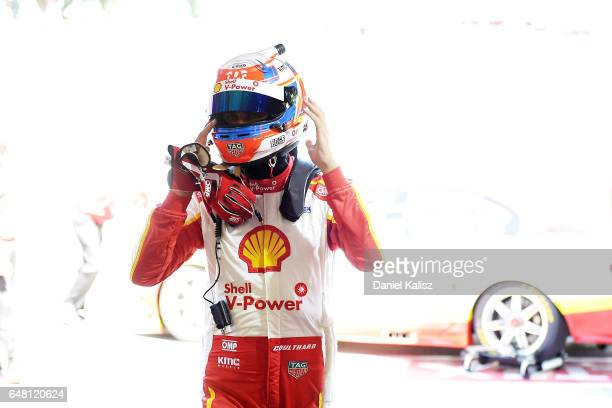 Fabian Coulthard driver of the Shell VPower Racing Team Ford Falcon FGX during the top ten shootout for race 2 of the Clipsal 500 which is part of...