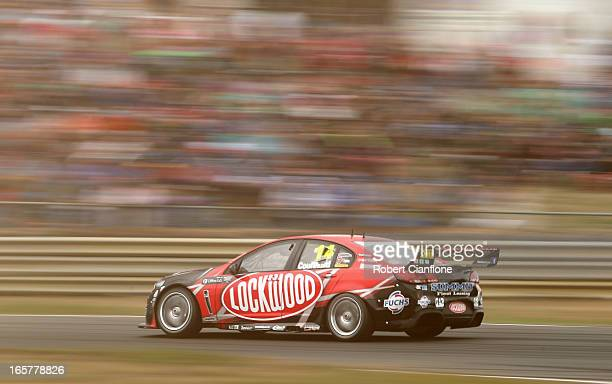 Fabian Coulthard drives the Lockwood Racing Holden during race three for round two of the V8 Supercar Championship Series at Symmons Plains Raceway...