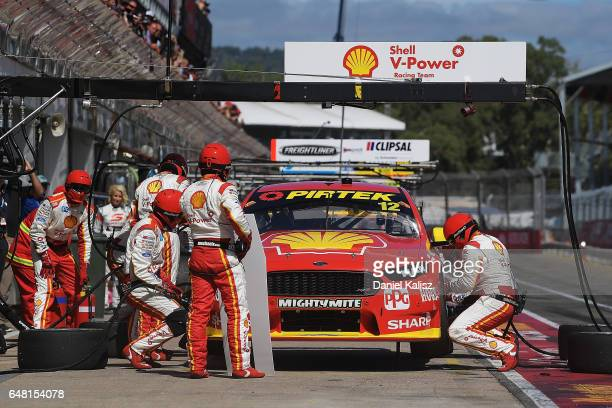 Fabian Coulthard drives the Shell VPower Racing Team Ford Falcon FGX during race 2 for the Clipsal 500 which is part of the Supercars Championship at...