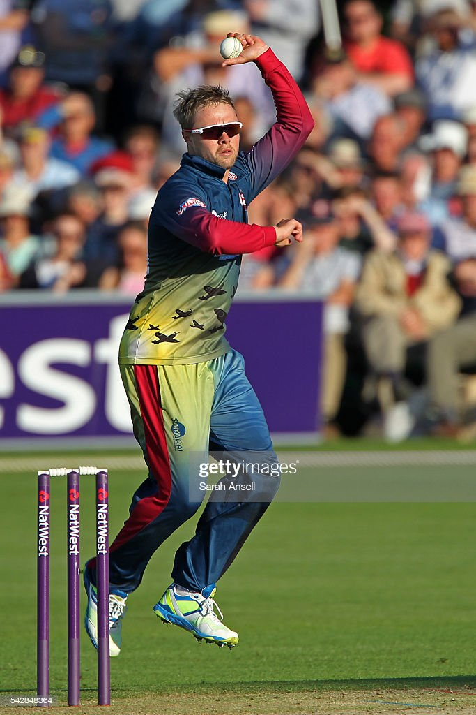 Fabian Cowdrey of Kent bowls during the Natwest T20 Blast match between Kent and Middlesex at The Spitfire Ground on June 24, 2016 in Canterbury, England.