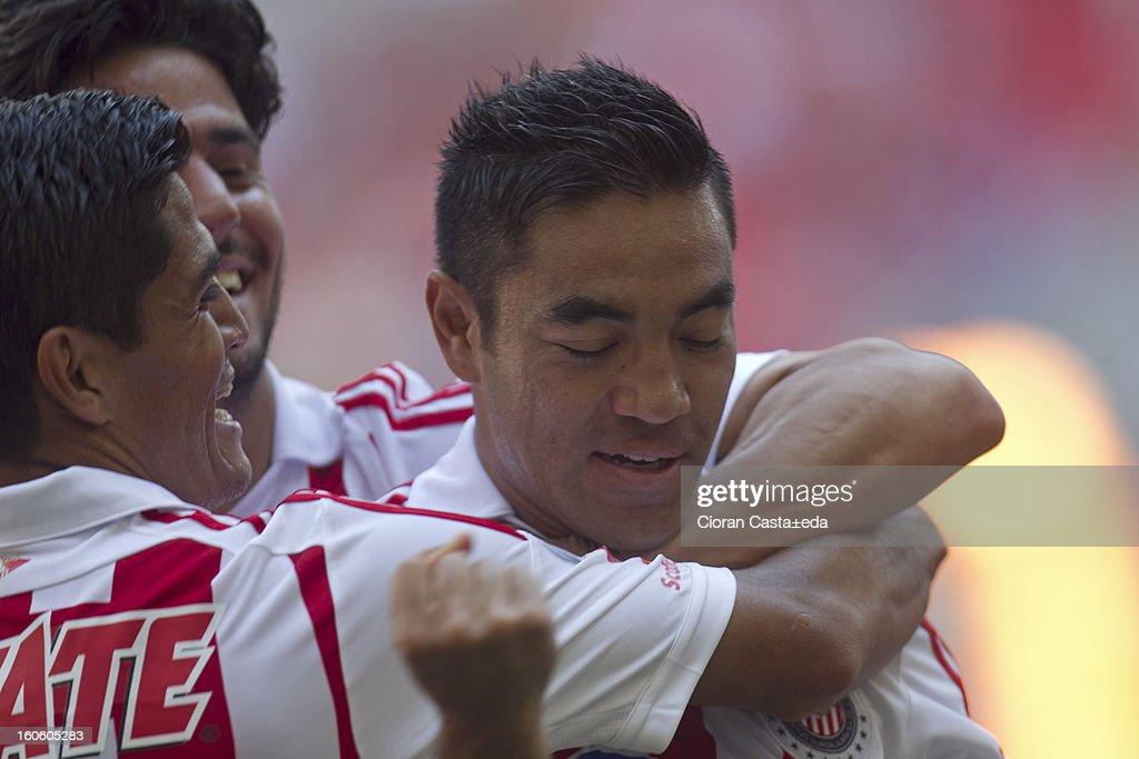 Fabian de la Mora of Chivas Guadalajara celebrates his goal during a match of the Clausura Liga MX Round 5 in Omnilife Stadium on February 3, 2013 in Guadalajara, Mexico.