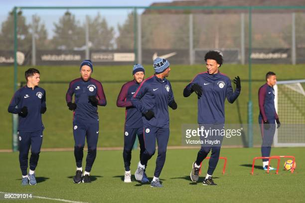 Fabian Delph and Leroy Sane at Manchester City Football Academy on December 11 2017 in Manchester England
