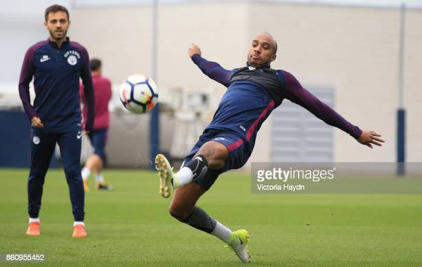 Fabian Delph in action during training at Manchester City Football Academy on October 13 2017 in Manchester England