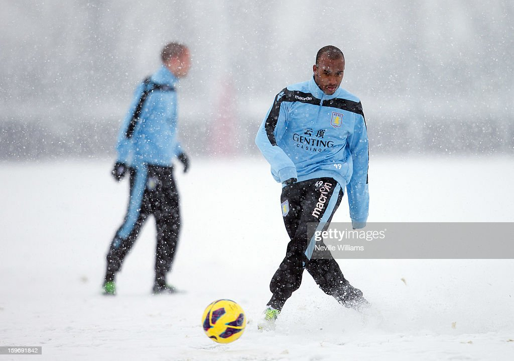Fabian Delph of Aston Villa in action during a Aston Villa training session at the club's training ground at Bodymoor Heath on January 18, 2013 in Birmingham, England.