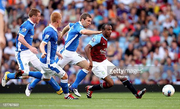 Fabian Delph of Aston Villa in action during the Barclays Premier League match between Aston Villa and Wigan Athletic at Villa Park on October 1 2011...