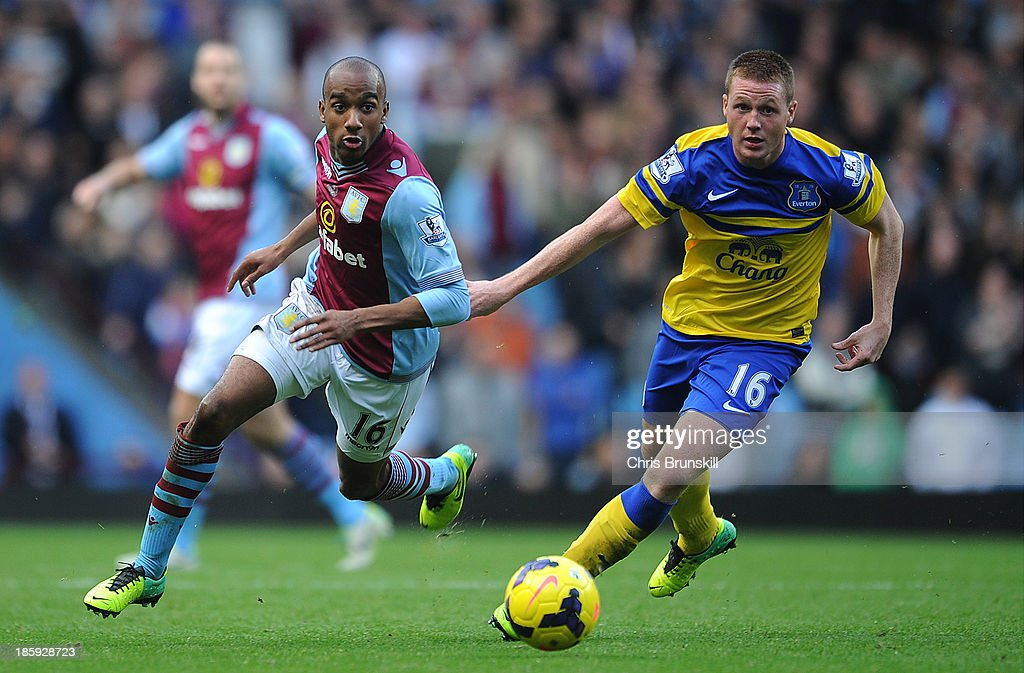 <a gi-track='captionPersonalityLinkClicked' href=/galleries/search?phrase=Fabian+Delph&family=editorial&specificpeople=5443479 ng-click='$event.stopPropagation()'>Fabian Delph</a> of Aston Villa in action with James McCarthy of Everton during the Barclays Premier League match between Aston Villa and Everton at Villa Park on October 26, 2013 in Birmingham, England.