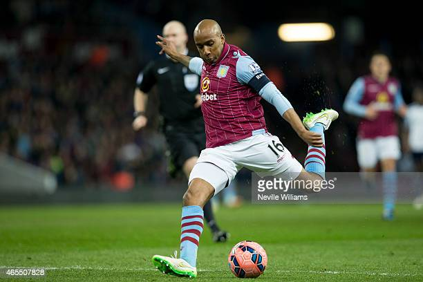 Fabian Delph of Aston Villa scores his goal for Aston Villa during the FA Cup FA Cup Quarter Final match between Aston Villa and West Bromwich Albion...