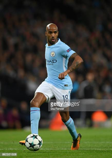 Fabian Delph of City in action during the UEFA Champions League group F match between Manchester City and SSC Napoli at Etihad Stadium on October 17...