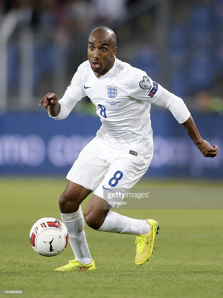 Fabian Delph of England during the EURO 2016 qualifying match between Switzerland and England on September 8 2014 at the St Jakobpark in Basel...