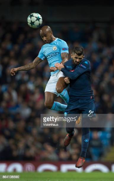 Fabian Delph of Manchester City and Elseid Hysaj of Napoli in action during the UEFA Champions League group F match between Manchester City and SSC...
