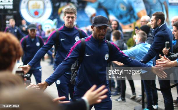 Fabian Delph of Manchester City arrives during the Premier League match between Manchester City and Burnley at Etihad Stadium on October 21 2017 in...
