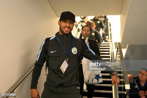 Fabian Delph of Manchester City arrives to the stadium prior to the UEFA Champions League group F match between Manchester City and Feyenoord at...