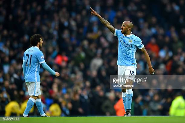 Fabian Delph of Manchester City celebrates after scoring the opening goal during the Barclays Premier League match between Manchester City and...