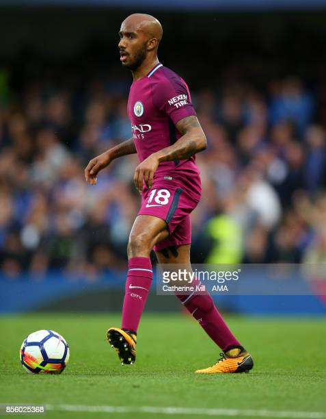 Fabian Delph of Manchester City during the Premier League match between Chelsea and Manchester City at Stamford Bridge on September 30 2017 in London...