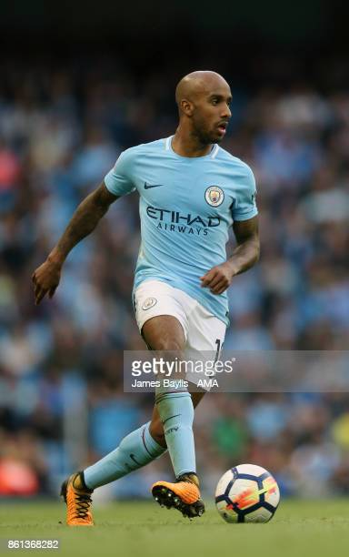 Fabian Delph of Manchester City during the Premier League match between Manchester City and Stoke City at Etihad Stadium on October 14 2017 in...