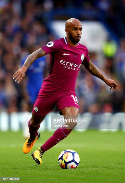 Fabian Delph of Manchester City in action during the Premier League match between Chelsea and Manchester City at Stamford Bridge on September 30 2017...
