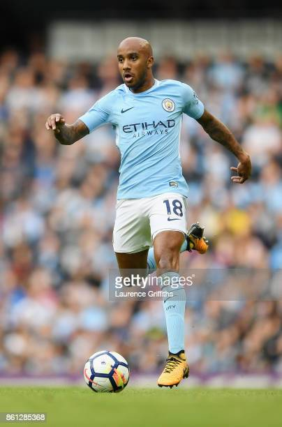 Fabian Delph of Manchester City in action during the Premier League match between Manchester City and Stoke City at Etihad Stadium on October 14 2017...