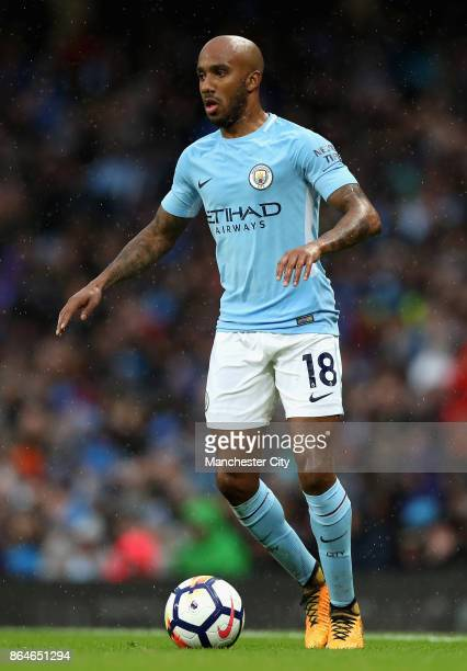 Fabian Delph of Manchester City in action during the Premier League match between Manchester City and Burnley at Etihad Stadium on October 21 2017 in...