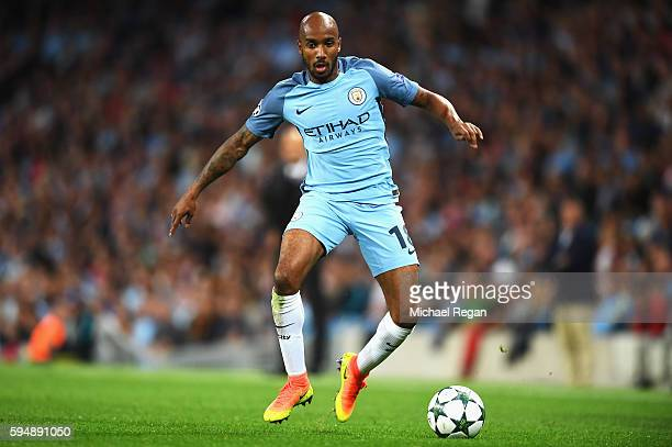 Fabian Delph of Manchester City in action during the UEFA Champions League Playoff Second Leg match between Manchester City and Steaua Bucharest at...