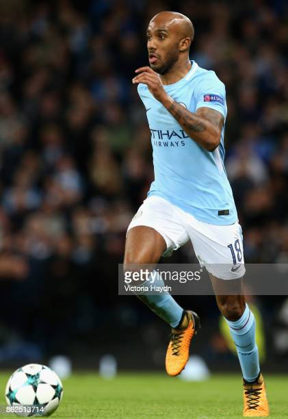 Fabian Delph of Manchester City in action during the UEFA Champions League group F match between Manchester City and SSC Napoli at Etihad Stadium on...