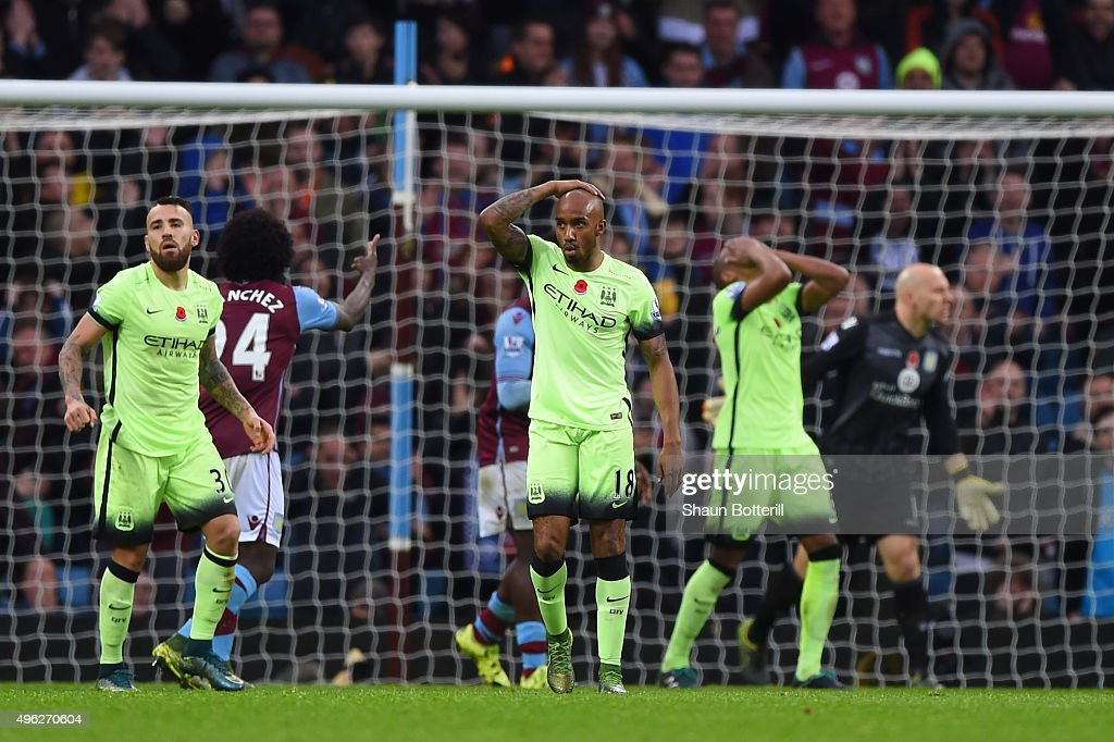 Fabian Delph of Manchester City (c) reacts after missing a shot on goal during the Barclays Premier League match between Aston Villa and Manchester City at Villa Park on November 8, 2015 in Birmingham, England.