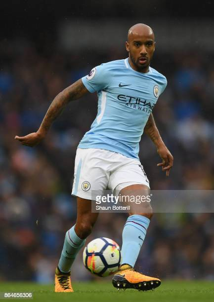 Fabian Delph of Manchester City runs with the ball during the Premier League match between Manchester City and Burnley at Etihad Stadium on October...