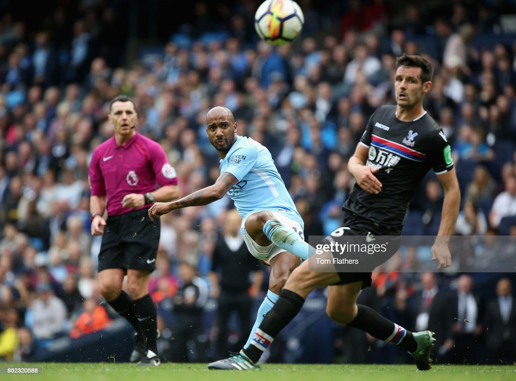 Fabian Delph of Manchester City scores his sides fifth goal during the Premier League match between Manchester City and Crystal Palace at Etihad Stadium on September 23, 2017 in Manchester, England.