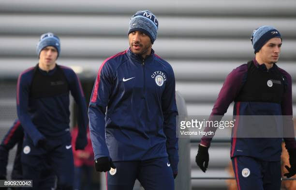 Fabian Delph walks to training at Manchester City Football Academy on December 12 2017 in Manchester England