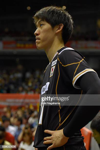 Fabian Drzyzga of Japan reacts during the Men's World Olympic Qualification game between Japan and Canada at Tokyo Metropolitan Gymnasium on June 4...