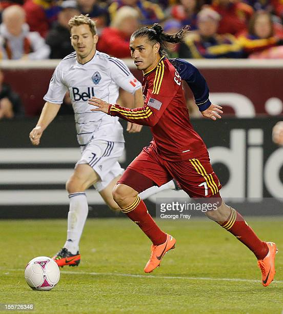 Fabian Espindola of Real Salt Lake kicks the ball against the Vancouver Whitecaps during the second half of an MLS soccer game October 27 2012 at Rio...