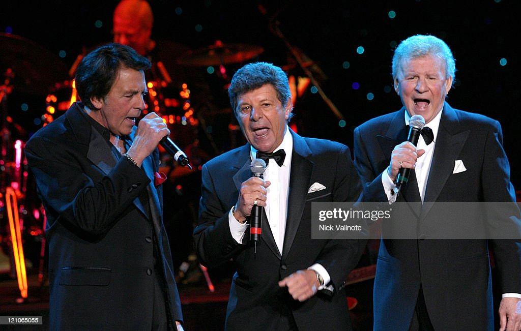 Fabian, Frankie Avalon and Bobby Rydell during Dick Fox's Golden Boys Starring Frankie Avalon, Fabian and Bobby Rydell in Concert - January 6, 2006 at Harrah's Showroom in Atlantic City, New Jersey, United States.