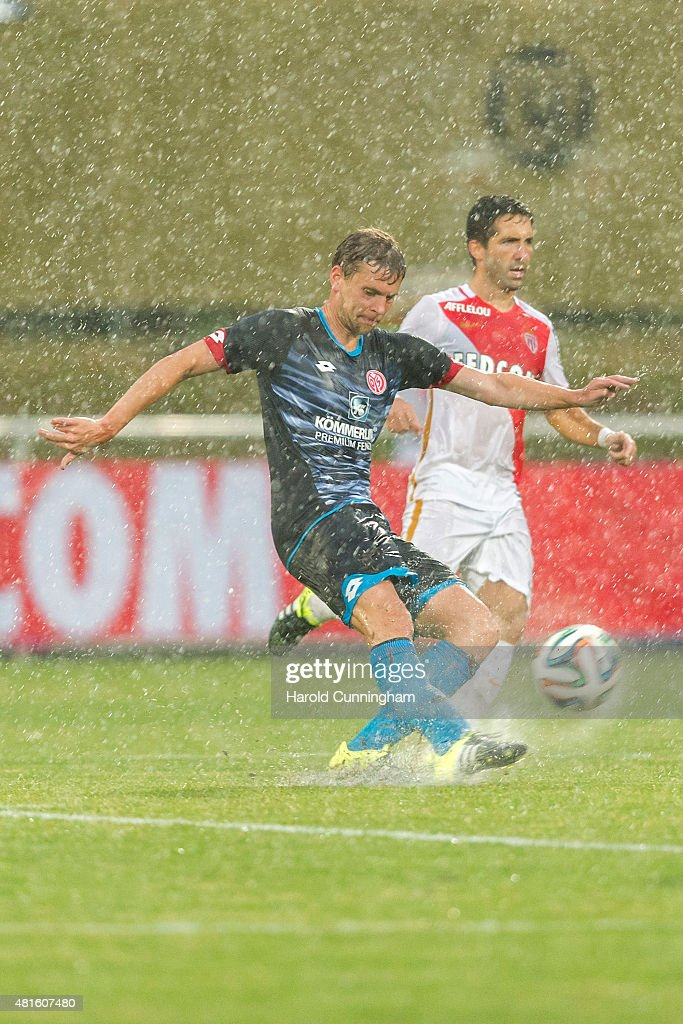 <a gi-track='captionPersonalityLinkClicked' href=/galleries/search?phrase=Fabian+Frei&family=editorial&specificpeople=4783637 ng-click='$event.stopPropagation()'>Fabian Frei</a> of 1. FSV Mainz 05 in action during the pre-season friendly match between 1. FSV Mainz 05 and AS Monaco at Stade des Arberes on July 22, 2015 in Meyrin, Switzerland.