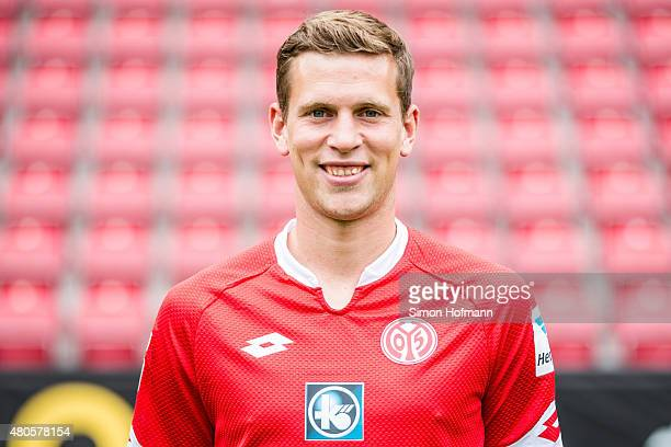 Fabian Frei poses during the 1 FSV Mainz 05 Team Presentation at Coface Arena on July 12 2015 in Mainz Germany