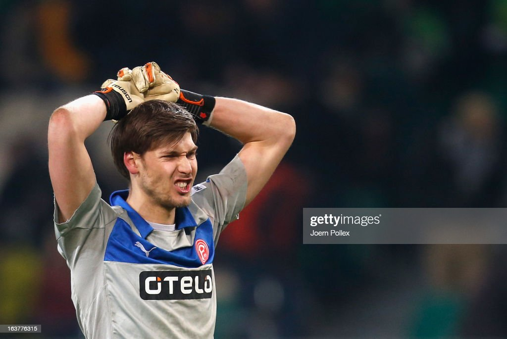 Fabian Giefer of Duesseldorf is seen after the Bundesliga match between VfL Wolfsburg and Fortuna Duesseldorf 1895 at Volkswagen Arena on March 15, 2013 in Wolfsburg, Germany.