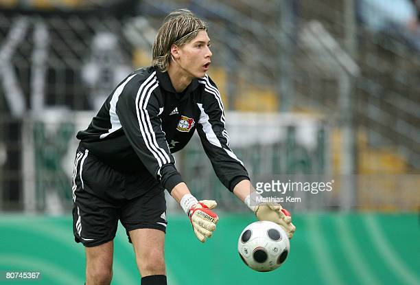 Fabian Giefer of Leverkusen in action during the Juniors Cup Final match between Borussia Moenchengladbach and Bayer 04 Leverkusen at the...