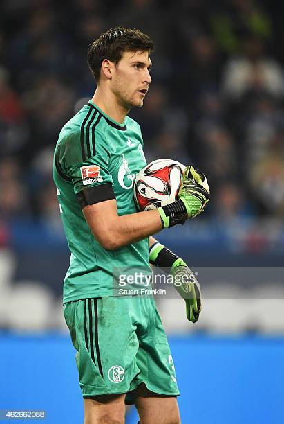 Fabian Giefer of Schalke in action during the Bundesliga match between FC Schalke 04 and Hannover 96 at Veltins Arena on January 31 2015 in...