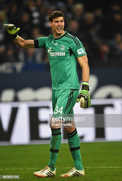 Fabian Giefer of Schalke reacts during the Bundesliga match between FC Schalke 04 and Hannover 96 at Veltins Arena on January 31 2015 in...
