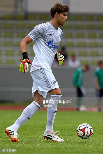 Fabian Giefer of Schalke runs with the balll during the friendly match between TuS Hordel and FC Schalke 04 at Lohrheidestadion on July 5 2014 in...