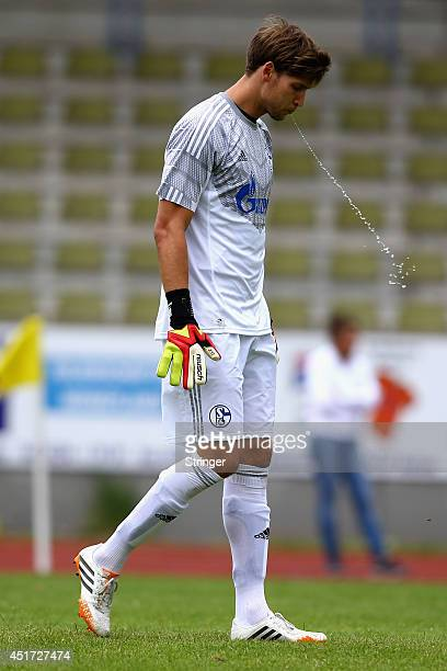 Fabian Giefer of Schalke spitts during the friendly match between TuS Hordel and FC Schalke 04 at Lohrheidestadion on July 5 2014 in Bochum Germany