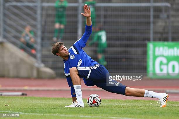 Fabian Giefer of Schalke wrms up prior to the friendly match between TuS Hordel and FC Schalke 04 at Lohrheidestadion on July 5 2014 in Bochum Germany
