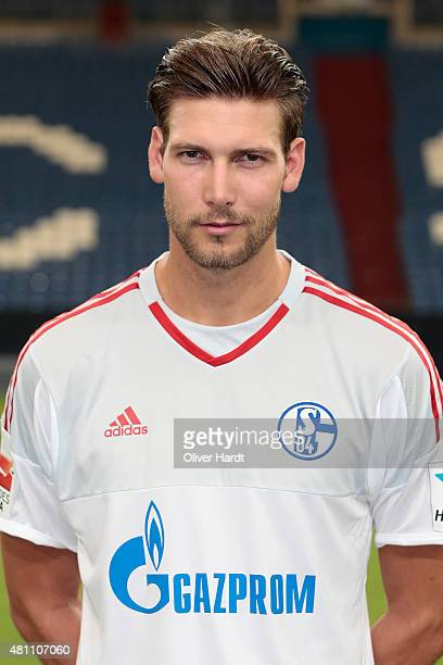 Fabian Giefer poses during the team presentation of FC Schalke 04 at VeltinsArena on July 17 2015 in Gelsenkirchen Germany