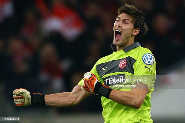 Fabian Gieferof Duesseldorf celebrates the 10 victory after extra time the DFB Cup second round match between Fortuna Duesseldorf and Borussia...