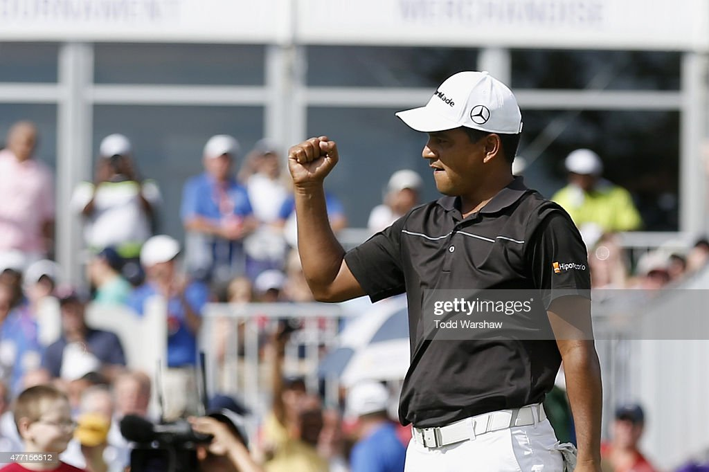 Fabian Gomez of Argentina celebrates after a birdie putt on the 18th hole to win the FedEx St Jude Classic at TPC Southwind on June 14 2015 in...