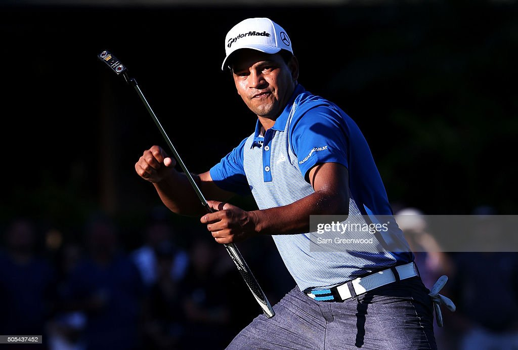 <a gi-track='captionPersonalityLinkClicked' href=/galleries/search?phrase=Fabian+Gomez&family=editorial&specificpeople=4605868 ng-click='$event.stopPropagation()'>Fabian Gomez</a> of Argentina celebrates after putting for birdie on the 18th green prior to a playoff against Brandt Snedeker during the final round of the Sony Open In Hawaii at Waialae Country Club on January 17, 2016 in Honolulu, Hawaii.