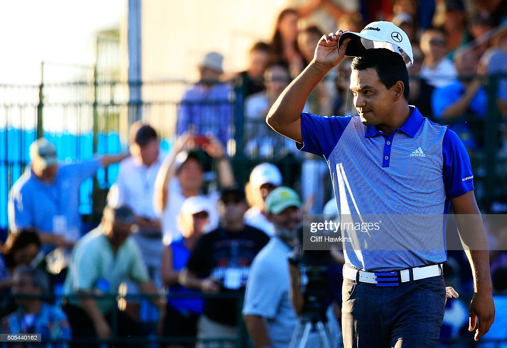 Fabian Gomez of Argentina celebrates defeating Brandt Snedeker during a playoff in the final round of the Sony Open In Hawaii at Waialae Country Club...