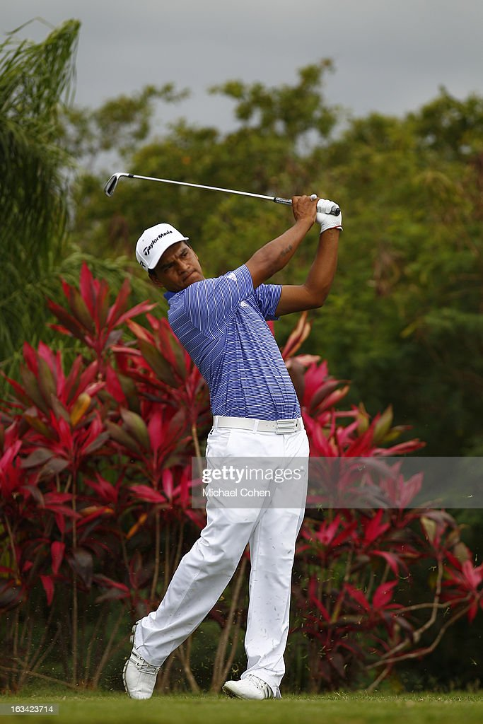 <a gi-track='captionPersonalityLinkClicked' href=/galleries/search?phrase=Fabian+Gomez&family=editorial&specificpeople=4605868 ng-click='$event.stopPropagation()'>Fabian Gomez</a> of Argentina Hits his tee shot on the 11th hole during the third round of the Puerto Rico Open presented by seepuertorico.com held at Trump International Golf Club on March 9, 2013 in Rio Grande, Puerto Rico.