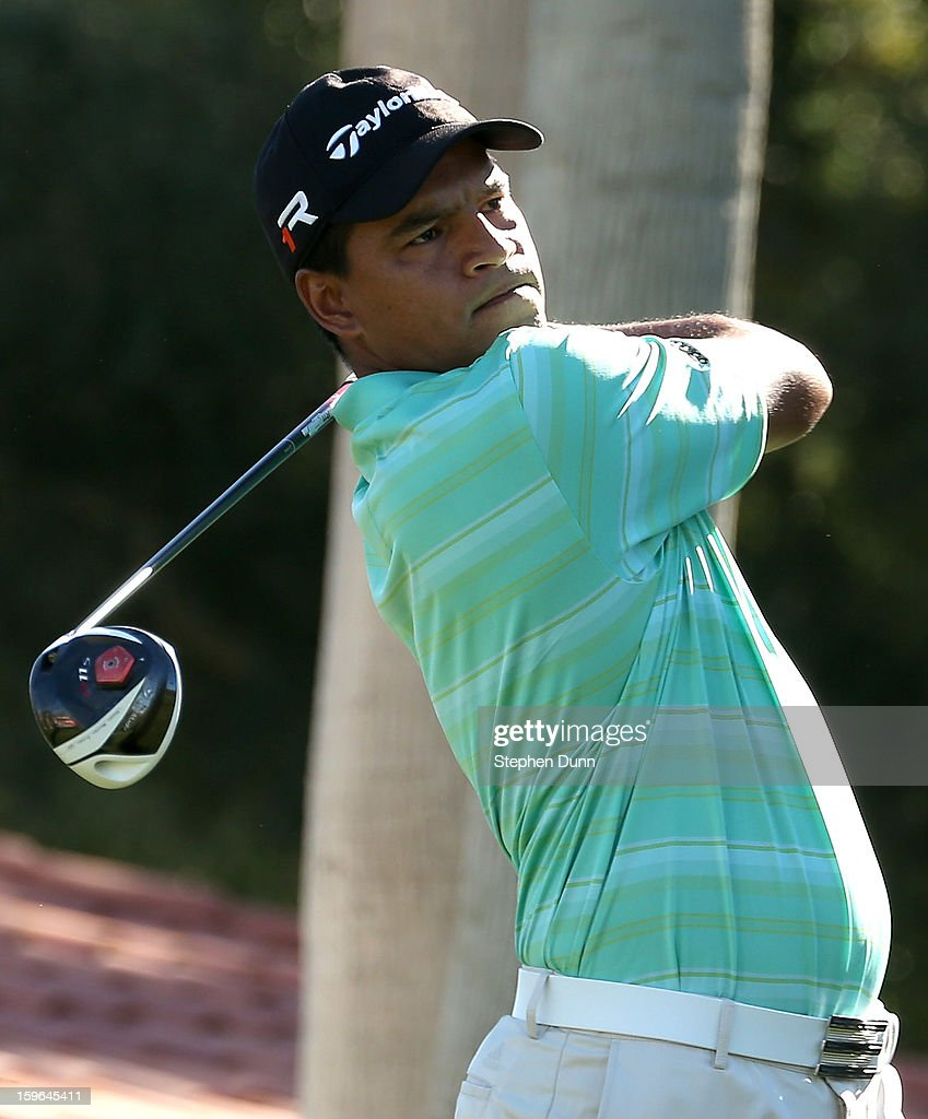 <a gi-track='captionPersonalityLinkClicked' href=/galleries/search?phrase=Fabian+Gomez&family=editorial&specificpeople=4605868 ng-click='$event.stopPropagation()'>Fabian Gomez</a> of Argentina hits his tee shot on the seventh hole during the first round of the Humana Challenge in partnership with the Clinton Foundation at La Quinta Country Club on January 17, 2013 in La Quinta, California.